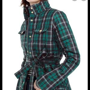 NWT J. Crew belted plaid puffer jacket